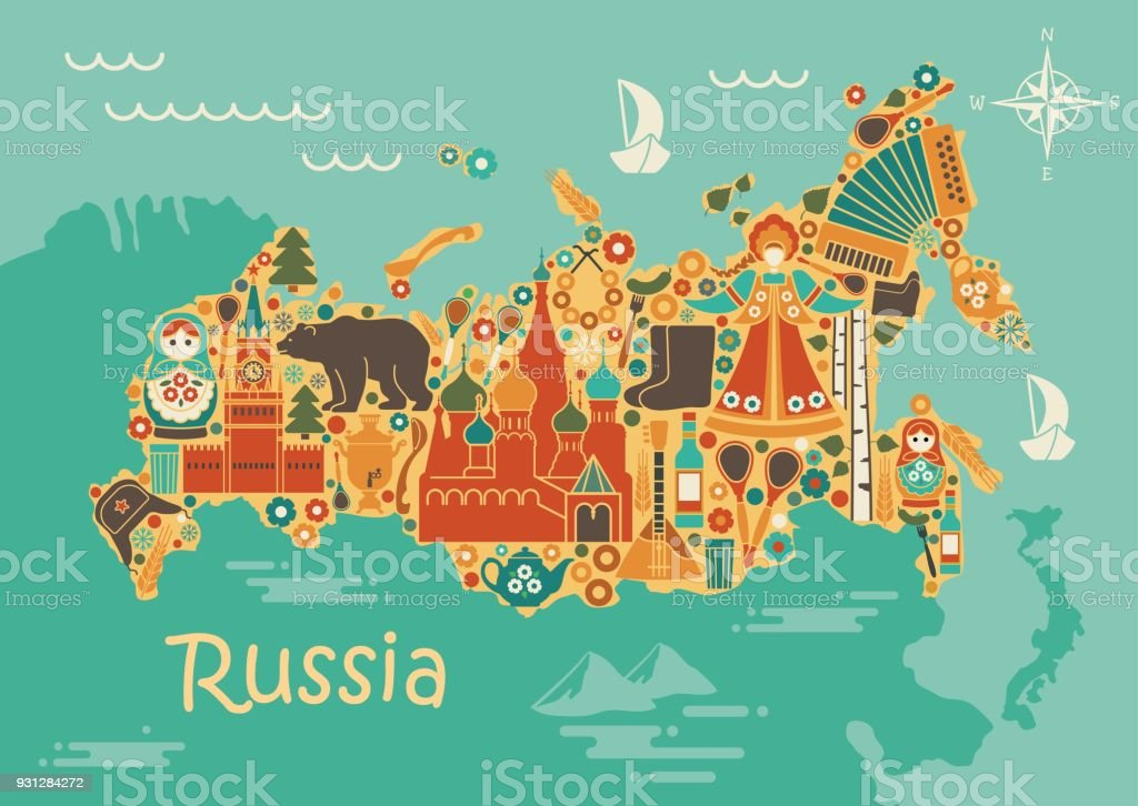 A Stylized Map Of Russia With The Symbols Of Culture And Nature