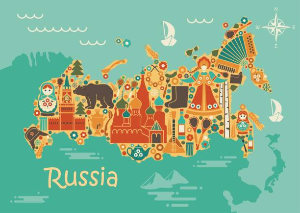 A stylized map of Russia with the symbols of culture and nature A stylized map of Russia with traditional Russian symbols kremlin stock illustrations