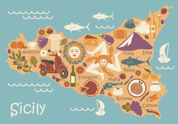 stylized map of sicily with traditional symbols - sicily stock illustrations