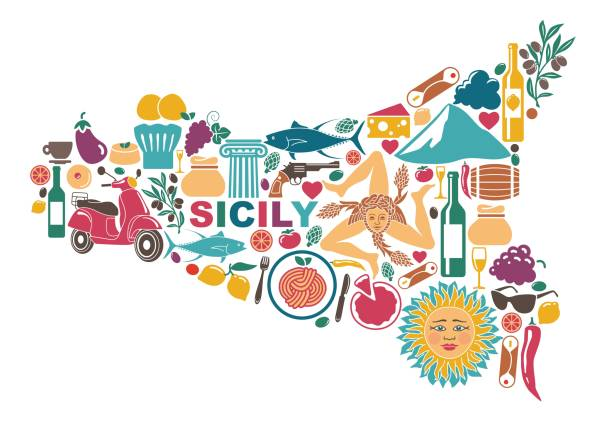 Stylized map of Sicily with traditional symbols Stylized map of Sicily with traditional symbols of nature, cuisine and culture sicily stock illustrations