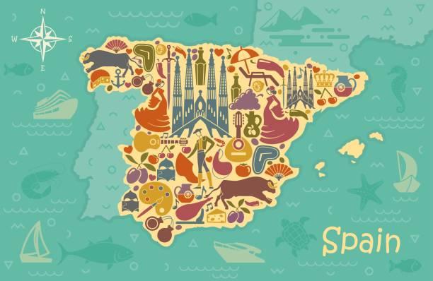 stockillustraties, clipart, cartoons en iconen met gestileerde kaart van spanje - castagnetten