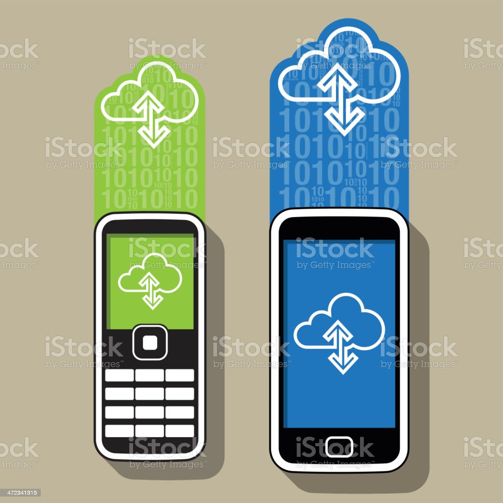Stylized Mobile Phones and the web royalty-free stylized mobile phones and the web stock vector art & more images of cloud computing
