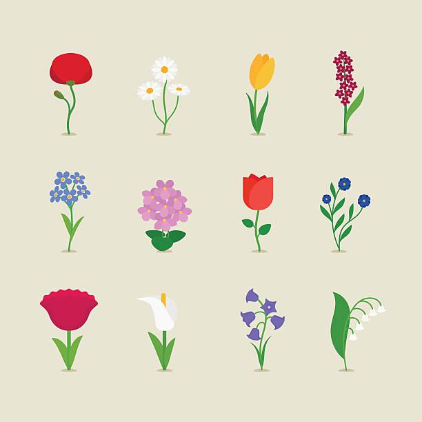 Stylized mod flowers Stylized mod flowers icons set. Vector illustration.  single flower stock illustrations