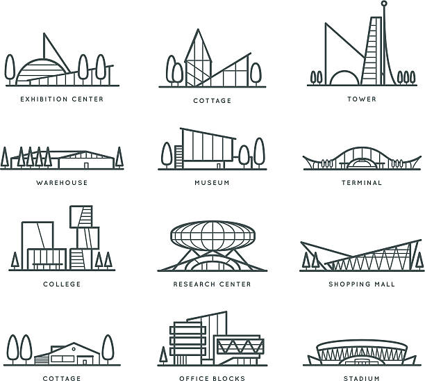 Stylized modern flat schematic city buildings set Museum, Cottage, College, Office Blocks, Towers, Stadium, Marketplace, University, Warehouse, Terminal. Vector graphics collection, logo templates stadium stock illustrations