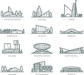 Stylized modern flat schematic city buildings set
