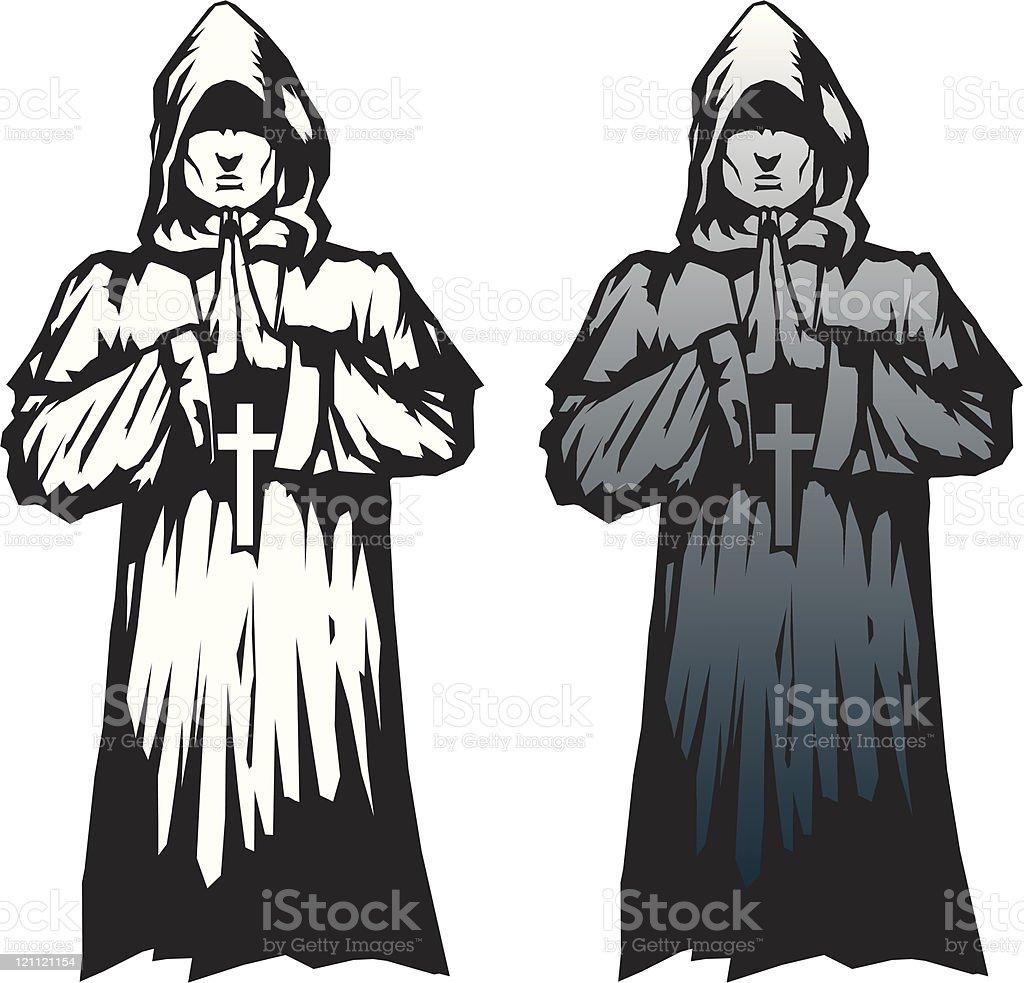 Hermoso monje - ilustración de arte vectorial