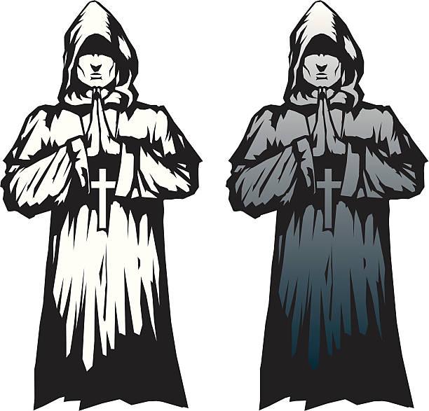 ilustraciones, imágenes clip art, dibujos animados e iconos de stock de hermoso monje - hermano