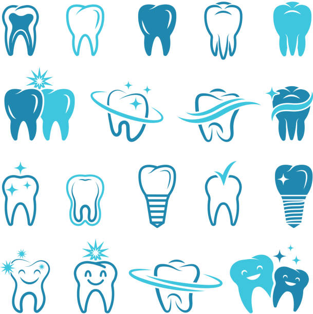 illustrazioni stock, clip art, cartoni animati e icone di tendenza di stylized monochrome pictures of teeth. dental concept illustrations for logos - denti