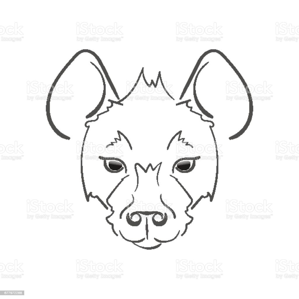 Stylized muzzle Hyena black and white sketch. For use as logos on cards, in printing, posters, invitations, web design and other purposes. vector art illustration