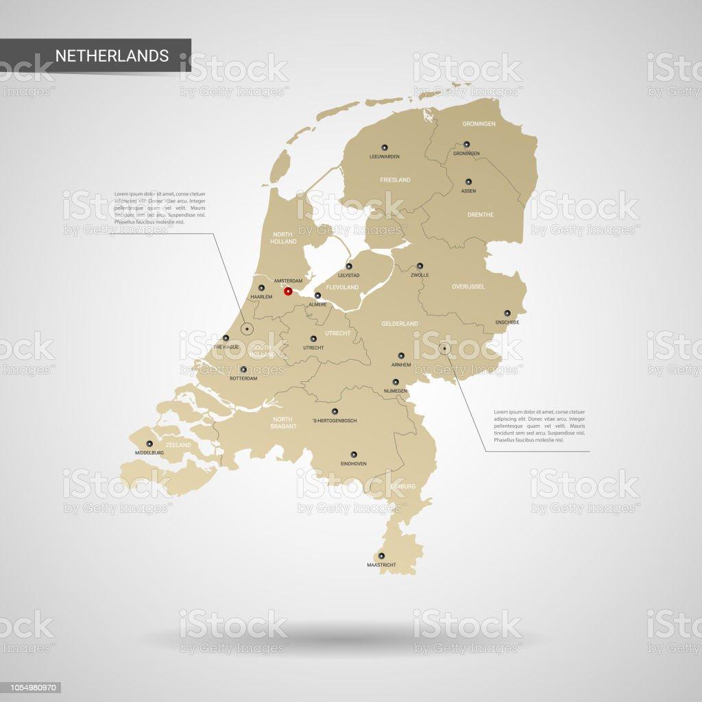 Stilize Hollanda harita vektör çizim. - Royalty-free Altın - Tanımlı renk Vector Art