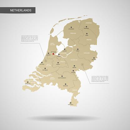 Stilize Hollanda Harita Vektör Çizim Stok Vektör Sanatı & Altın - Tanımlı renk'nin Daha Fazla Görseli