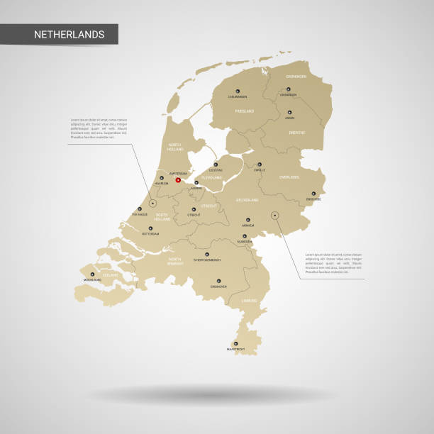stylized netherlands map vector illustration. - holandia stock illustrations