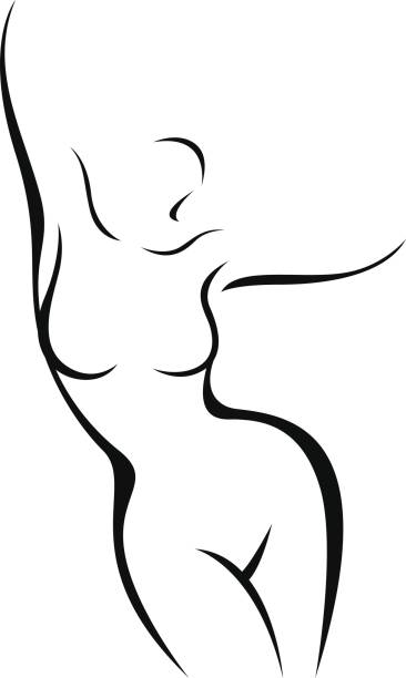 stylized nude female body in the form of a linear silhouette - talia tułów stock illustrations
