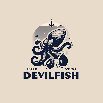 Stylized octopus with tentacles in the sea.