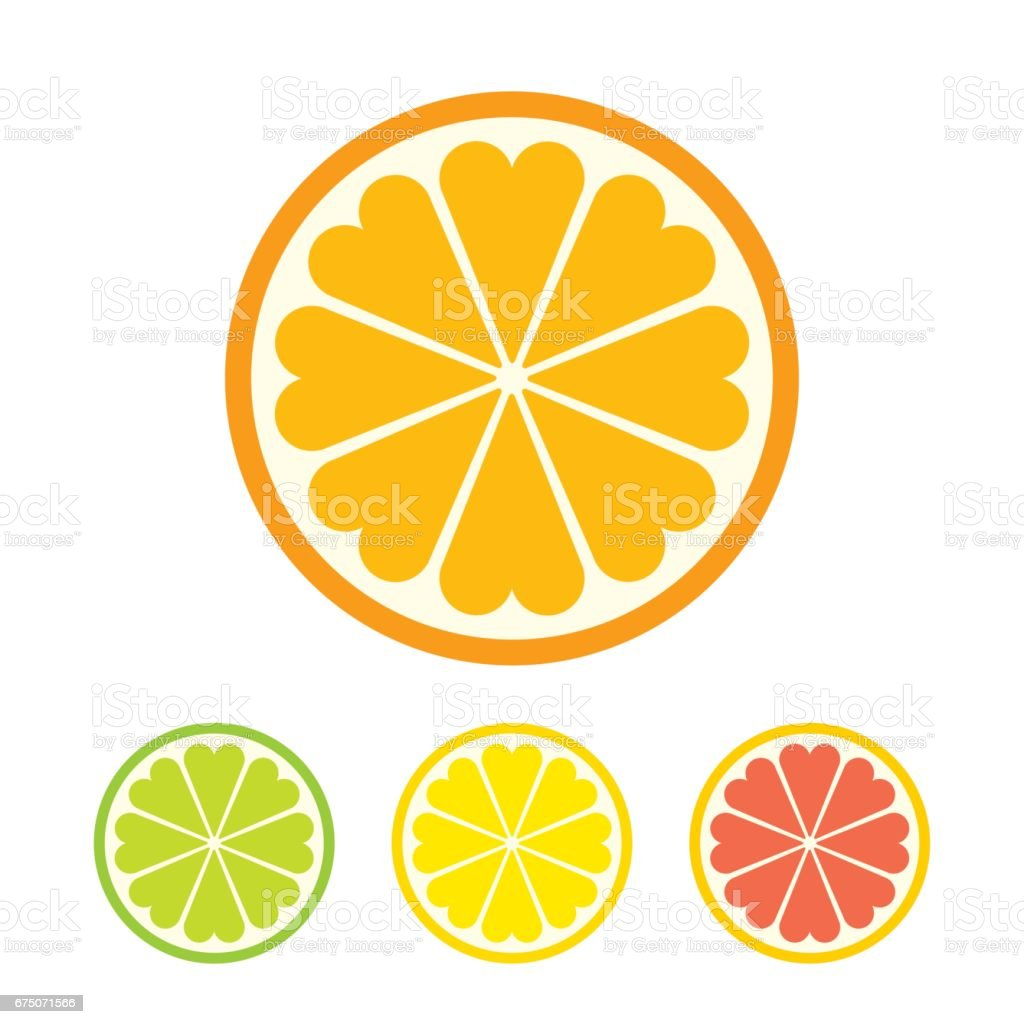 Stylized orange slice icon vector art illustration