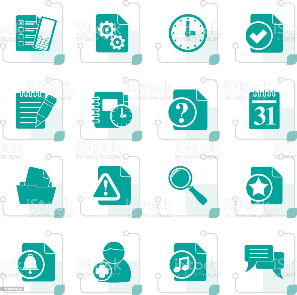 Stylized Organizer Communication And Connection Icons Stock Vector ...