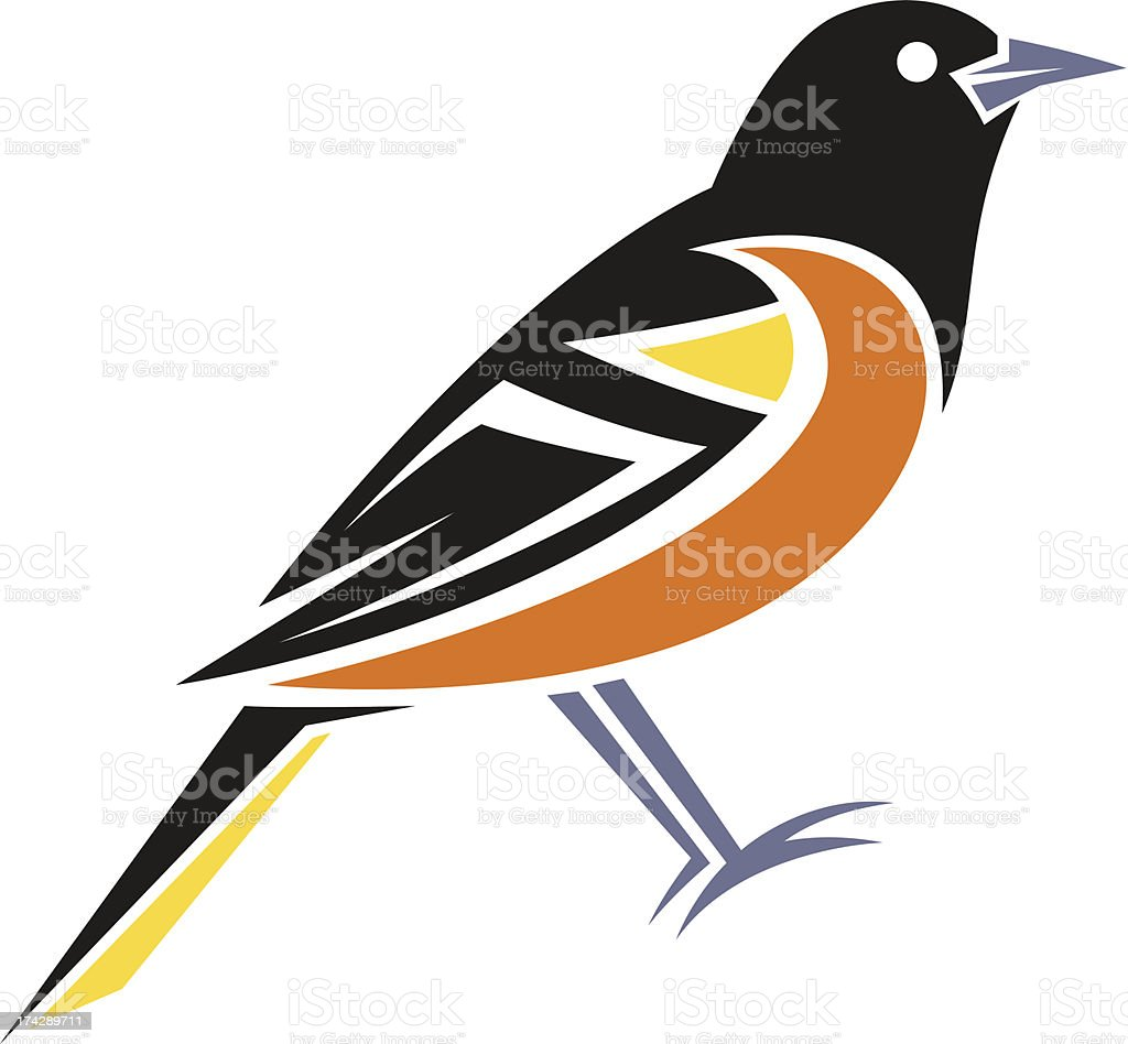 Stylized Oriole vector art illustration