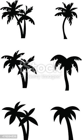 Stylized palm tree silhouettes