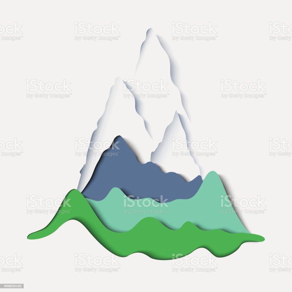 Stylized paper mountain landscape vector art illustration