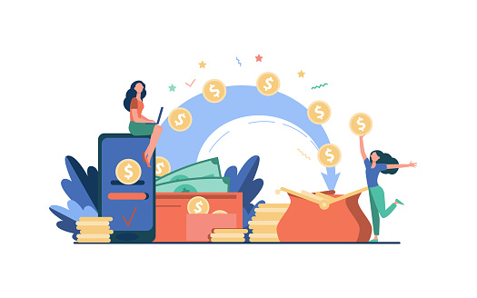 Stylized people sending payment and receiving money