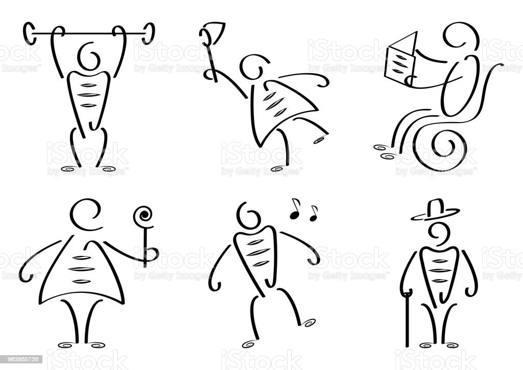 Stylized people set. Outline design. Vector illustration - Royalty-free Adult stock vector