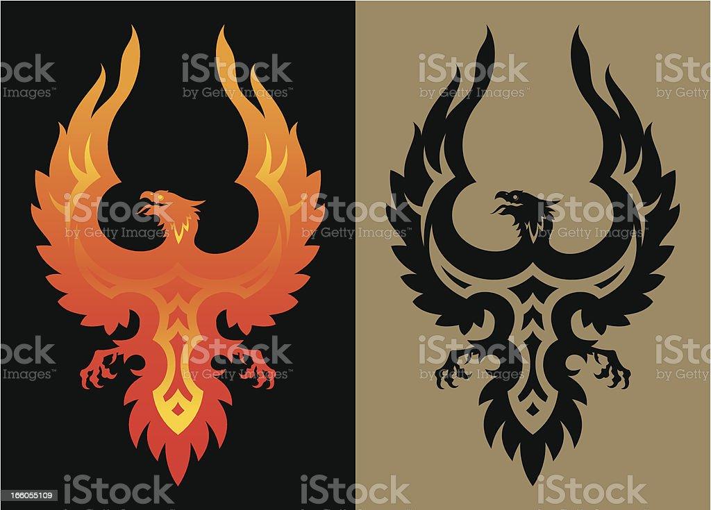 Stylized phoenix bird royalty-free stock vector art