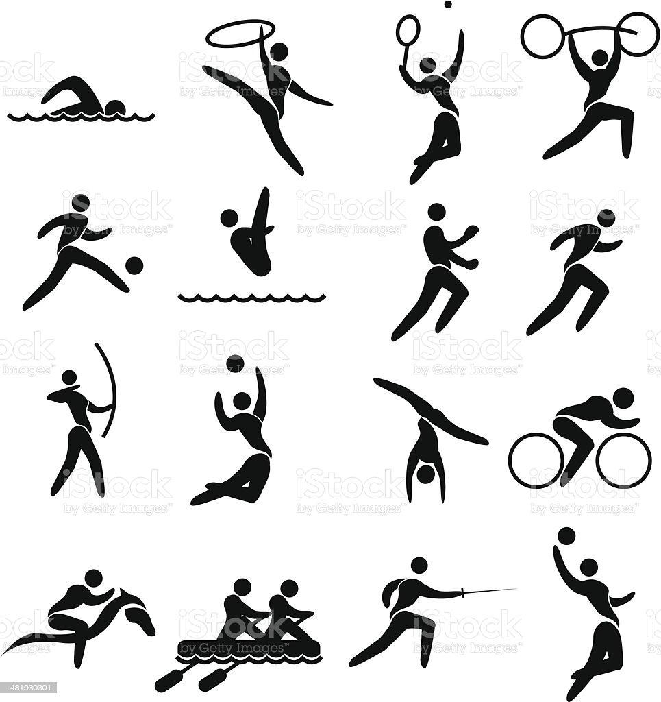 Stylisé pictogram olympique set - Illustration vectorielle