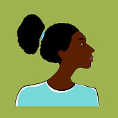 Stylized portrait of a girl of African type -Falashi - on a green background