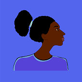 Stylized portrait of a girl of African type -Falashi - on a blue  background