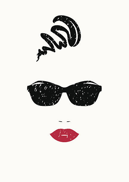 stylized portrait of beautiful woman in black sunglasses. - beach fashion stock illustrations, clip art, cartoons, & icons