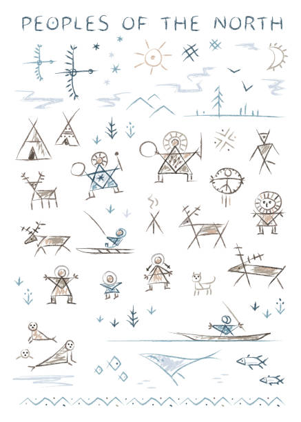 Stylized primitive ornamental depictions of the life of the inhabitants of the north vector art illustration
