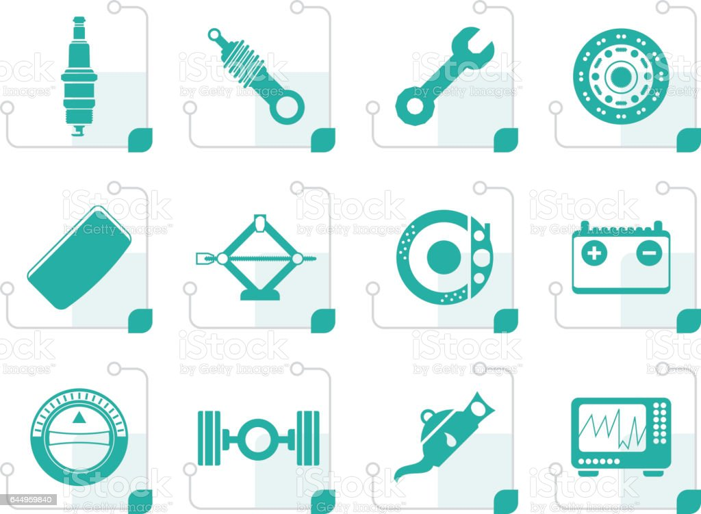 Stylized Realistic Car Parts and Services icons vector art illustration