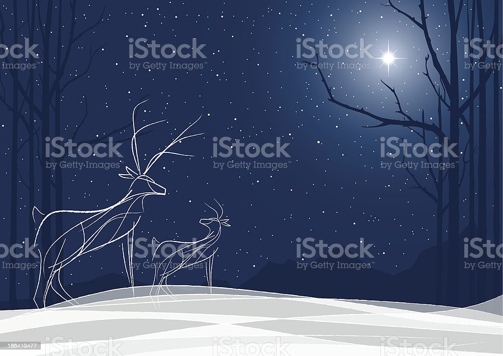 Stylized Reindeer family in the snow with North Star vector art illustration