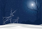 Stylized Reindeer family in the snow with North Star