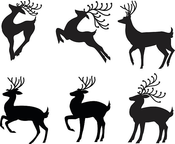 Stylized Reindeer Set of Six Different Poses in Black Silhouette vector art illustration