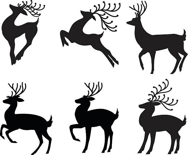 illustrations, cliparts, dessins animés et icônes de stylisé renne ensemble de six différentes poses en silhouette noire - renne