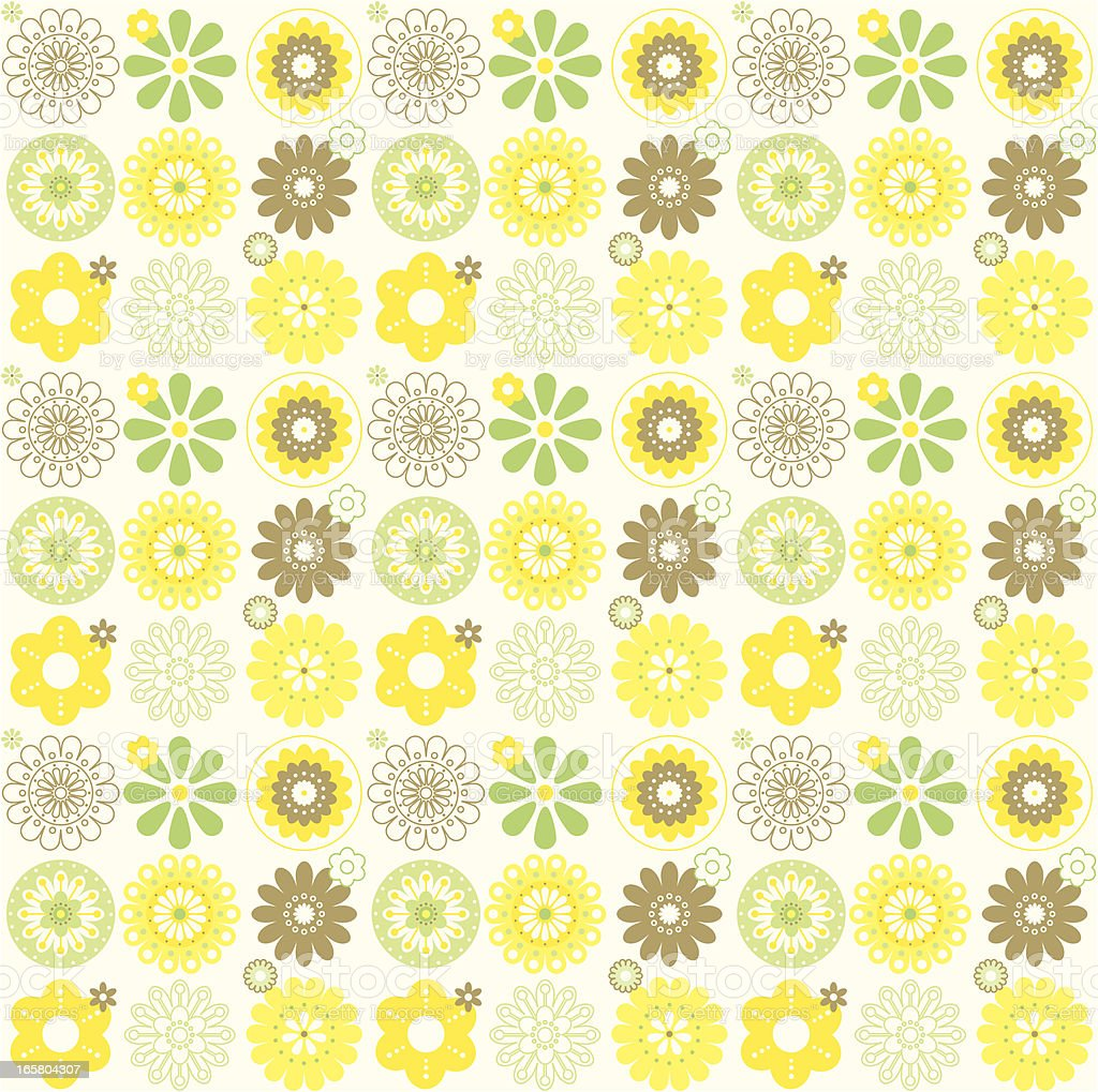 Stylized Retro Flowers in a Seamless Repeat Pattern royalty-free stock vector art