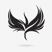 Stylized rising flying bird icon