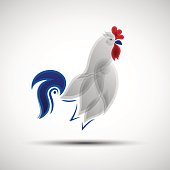Stylized Rooster. Vector illustration of abstract Gallic rooster as symbol of France national football team for your design