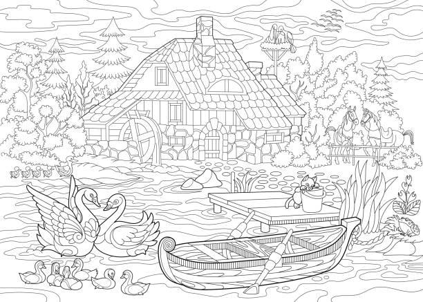 Patos Para Colorear Para Para Con Para Vector Stock Sin: Vectores De Pato Para Colorear E Ilustraciones Libres De