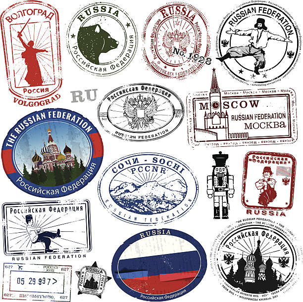 Stylized Russian Stamps and Decals Series of Stylized Russian Stamps and Decals kremlin stock illustrations