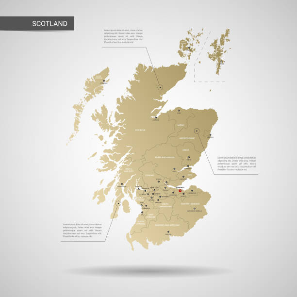 Stylized Scotland map vector illustration. Stylized vector Scotland map.  Infographic 3d gold map illustration with cities, borders, capital, administrative divisions and pointer marks, shadow; gradient background. alba stock illustrations