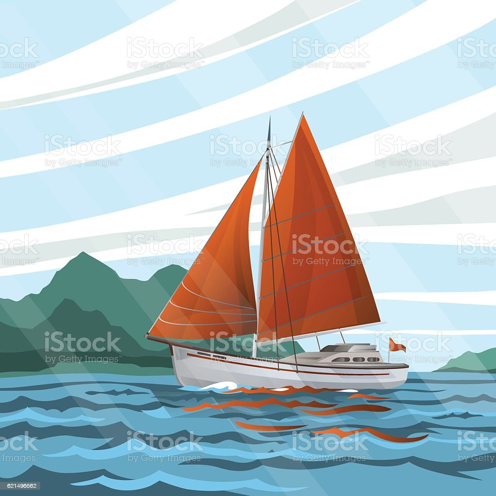 Stylized  seascape with the sailboat floating on the waves Lizenzfreies stylized seascape with the sailboat floating on the waves stock vektor art und mehr bilder von abenteuer