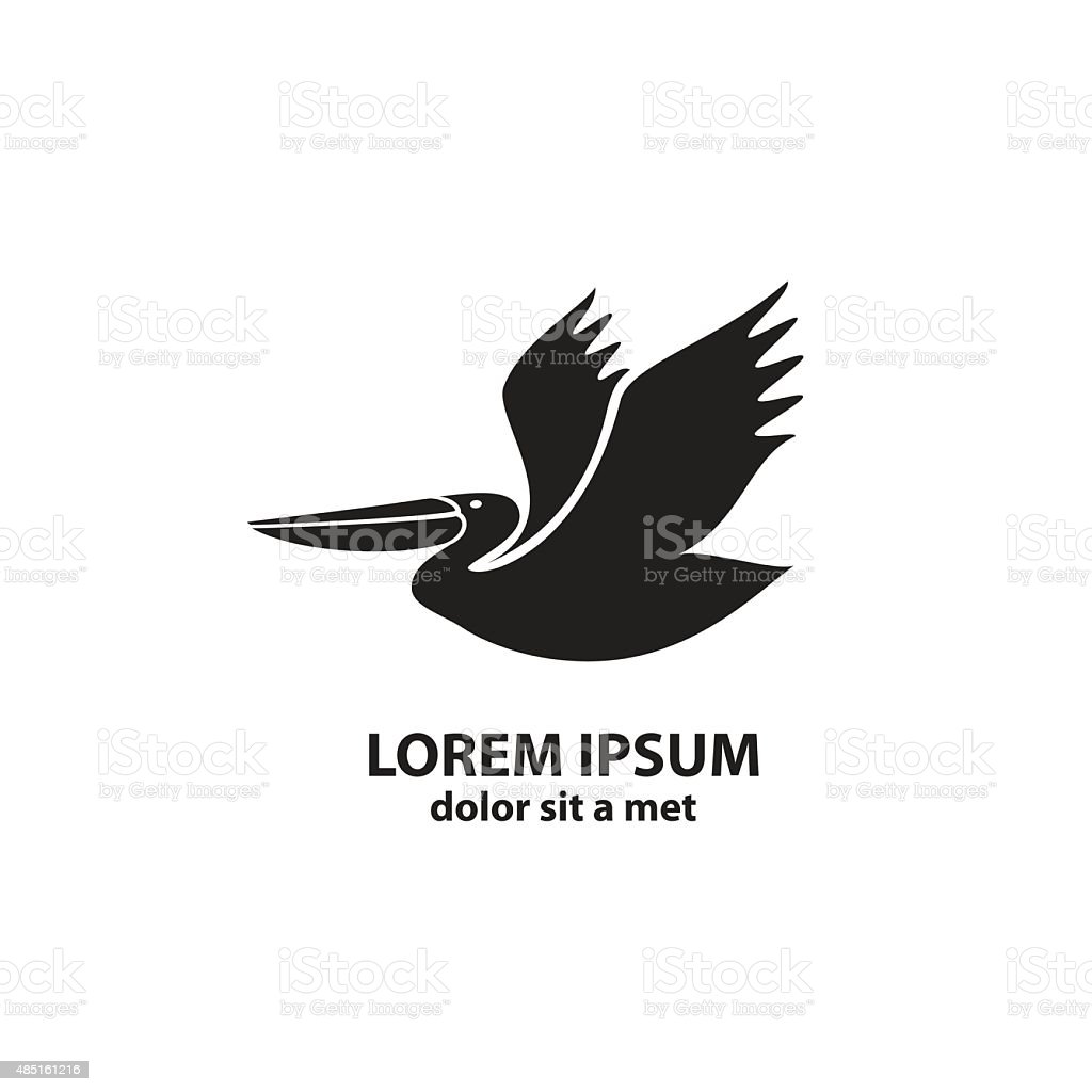 Stylized silhouette of a Pelican vector art illustration