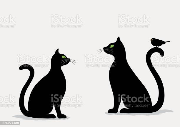 Stylized silhouette of black cats and bird vector id670271438?b=1&k=6&m=670271438&s=612x612&h=vi5npdo ggrywt 6kiephjmqrzfrlv5igvsxgs2ntyw=