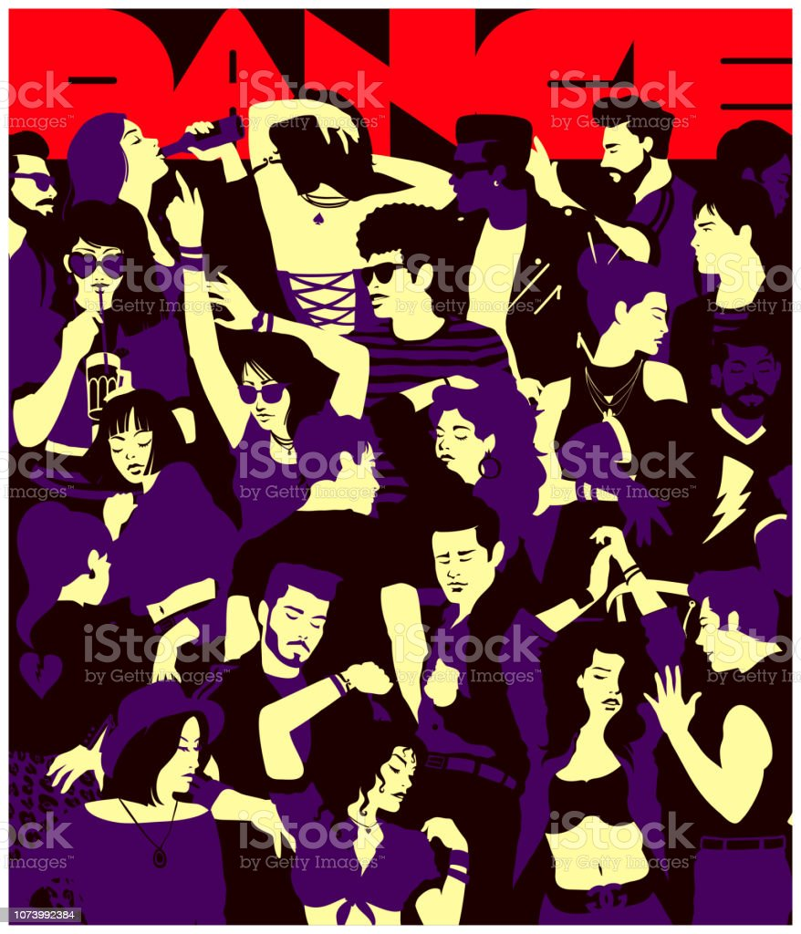 Stylized silhouette of crowd of people dancing at party in a club minimal flat design vector illustration vector art illustration