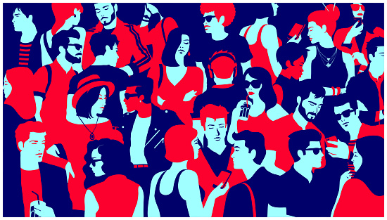 Stylized silhouette of crowd of people mixed group hanging out, chatting and drinking minimal flat design vector illustration