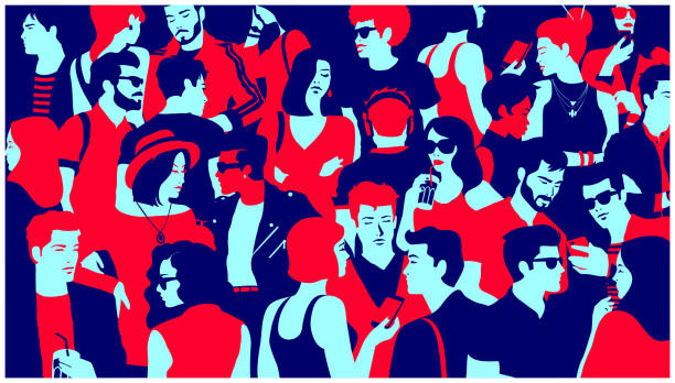 Stylized silhouette of crowd of people mixed group hanging out, chatting and drinking minimal flat design vector illustration Stylized silhouette of crowd of people, casual mixed group of young adults hanging out, chatting or drinking gathered for nightlife event, simple minimal pop art style flat design vector illustration modern art stock illustrations