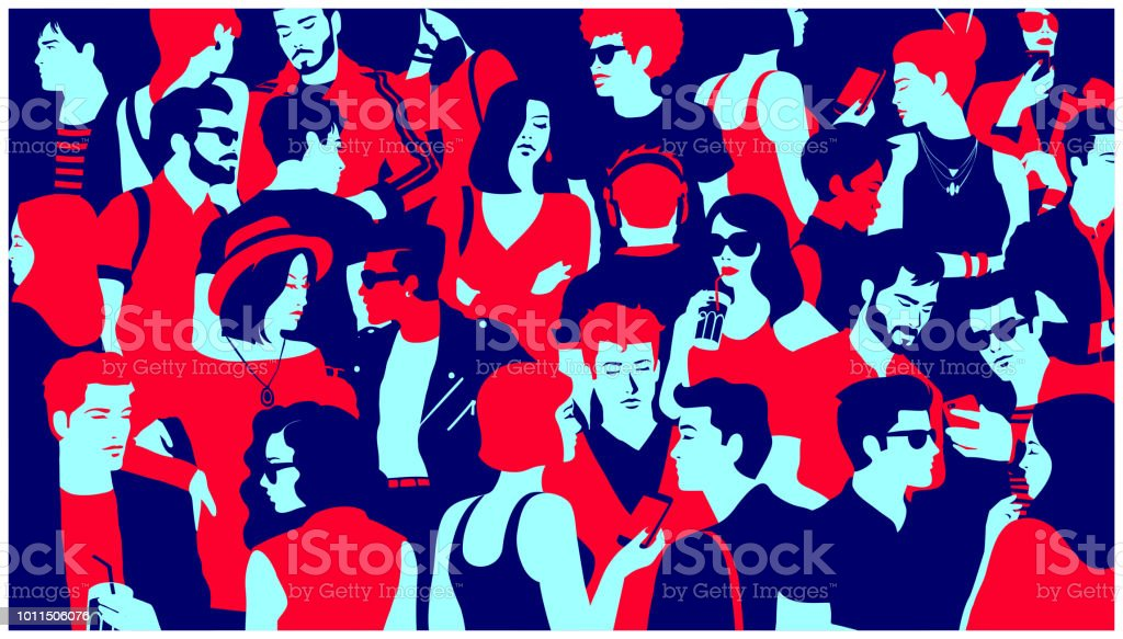 Stylized silhouette of crowd of people mixed group hanging out, chatting and drinking minimal flat design vector illustration vector art illustration