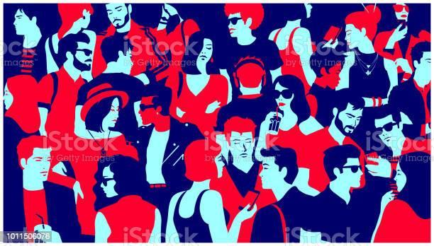 ぶらぶらチャットミニマルなフラット デザインのベクトル図を飲む人々 混合グループの群衆の様式化されたシルエット - イタリアのベクターアート素材や画像を多数ご用意